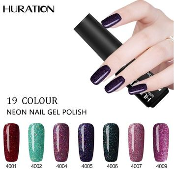 Huration LED Polish Soak Off Base Top Polish Need UV 7ml Black Bottle Nail Gel Neon UV Lamp Gel Nail Art Extensions