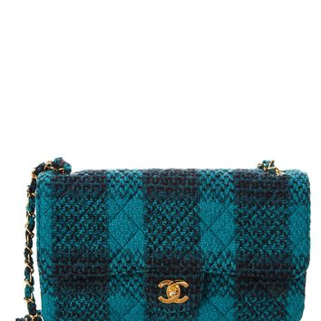 Chanel Chanel Green Quilted Tweed Medium Flap Bag | Bluefly.Com