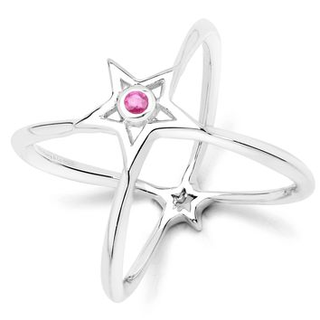 LoveHuang 0.05 Carats Genuine Ruby Infinite StarRing Solid .925 Sterling Silver With Rhodium Plating