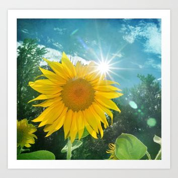 Sunflower. Vintage Art Print by Guido Montañés