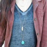Women's fashion Turquoise layered Pendant Necklace girlfriend gifts [8081688839]