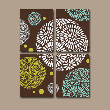 Flourish Wall Art Canvas Pottery Choose Colors Bedroom Decor Brown Aqua Green Circle Flower Floral Set of 4 Prints Bathroom Decor Bedding