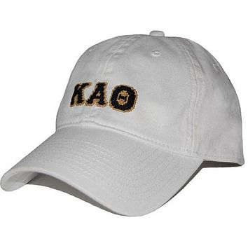 Kappa Alpha Theta Needlepoint Hat in White by Smathers & Branson