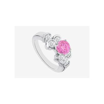 DCCKU7Q Pink Sapphire Engagement Ring with Cubic Zirconia in 14K White Gold 1.70 Carat TGW