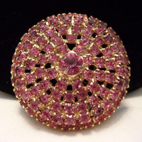 Vintage Rose  Pink Circle Antique Brooch Glass Rhinestone Gold Plate Domed Pin