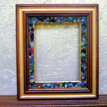 Antique Finish, Vintage Wood Picture Frame Embellished with Polished Glass and Stones, 8 x 10 Picture, Wall Decor