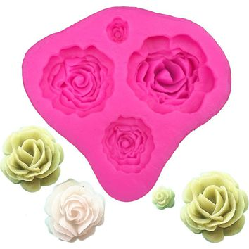 Rose flower Shape fondant silicone mold kitchen baking chocolate pastry candy Clay making cupcake lace decoration tools FT-0116