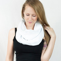 White Infinity Scarf Cotton Lightweight Light Circle Loop Women Accessory