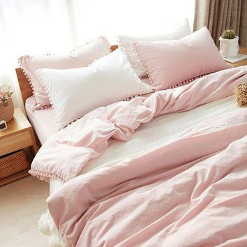 ac PEAPON On Sale Home Hot Deal Comfortable Bedroom Cotton Rinsed Denim Bed Sheet Quilt Case [45989986329]