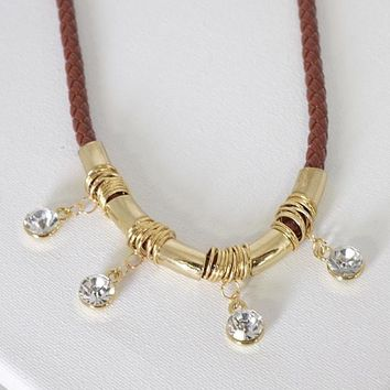 Metal and Crystal Embellished Braided Pattern Necklace