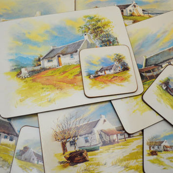 Vintage Set of 6 Cork Placemats and Matching Coasters, Cape Fishermen's Cottages, Cape Town, South Africa Souvenir, 1980s