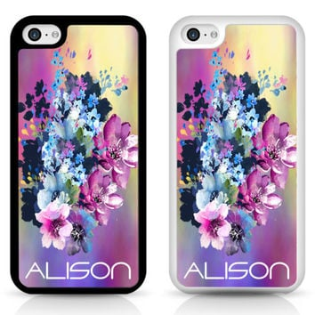 Flower orchid Personalised initials name floral Cover Case for iPhone Samsung | eBay