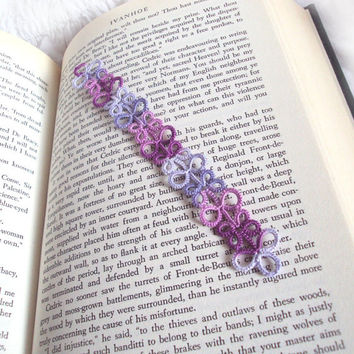 Lilac, Grape Bookmark in Tatting Lace - Eva