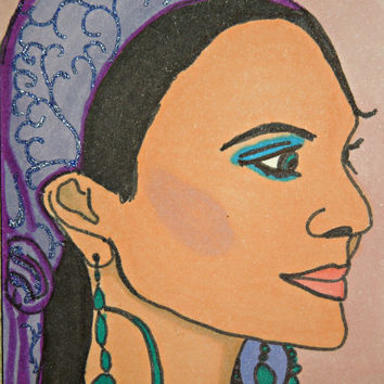 ACEO Gypsy Princess in Purple Headscarf SFA