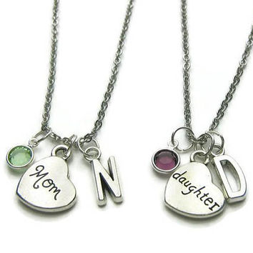 2 Mom And Daughter Birthstone Initial Necklaces, Mother Daughter Necklaces, Mother Necklace, Daughter Necklace,  Gift For Mother  Daughter
