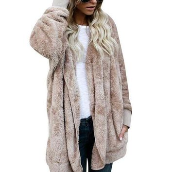 CREYONX5H New Year Spring Faux Fur Teddy Bear Coat Jacket Women Fashion Open Stitch Hooded Coat Female Long Sleeve Fuzzy Jacket