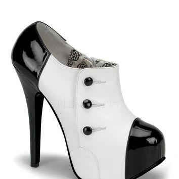 Bordello Black and White Bootie Platform Pumps