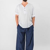 Drawstring Pinstripes Cotton Pants in Navy