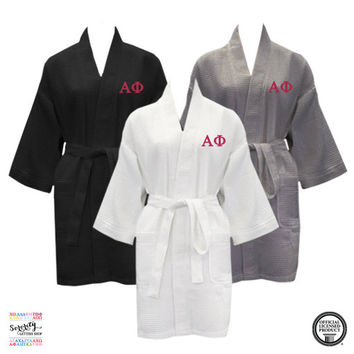 Alpha Phi Waffle Weave Bath Robe, Alpha Phi short Waffle Weave Robe, Sorority Letter Bath Robe, Greek Apparel, Greek Leters