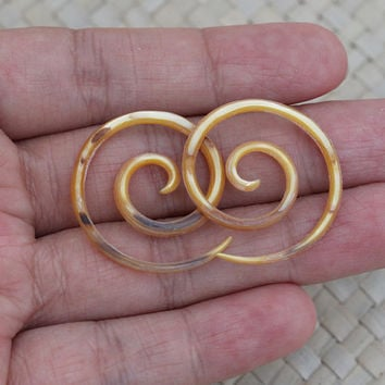 12g Gauge Earrings 2 mm Small Spiral Yellow Mother of Pearl Gauge