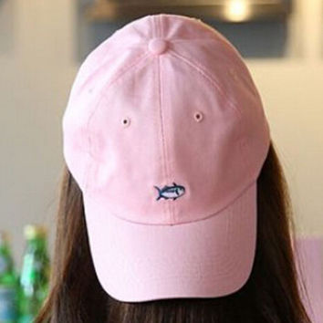 Pink Embroidery Fish Baseball Cap Unique Hat Summer Gift