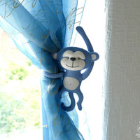 Curtain tie back Monkey Nursery Felt ornament Window Decoration  Baby boy gift Baby party decor Baby mobile toy Nursery wool toy
