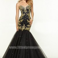 2015 Floor length Beaded Gold Lace Mermaid Prom Dress by Mori Lee 97073 [Mori Lee 97073]