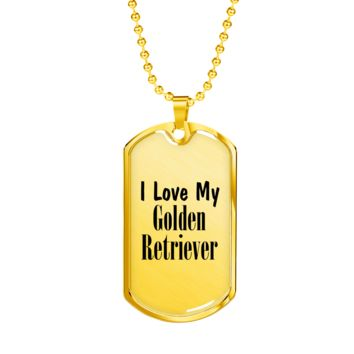 Love My Golden Retriever - 18k Gold Finished Luxury Dog Tag Necklace