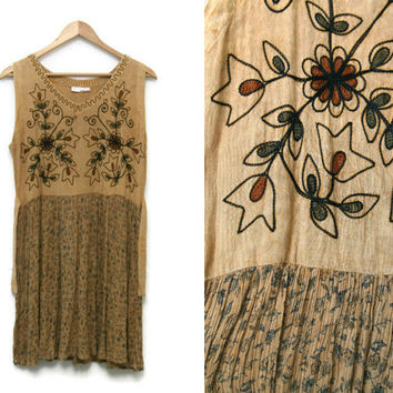 Vintage Floral Dress~Size Extra Small to Medium~60s Style Boho Hippie Beige Brown Green Babydoll Tie Embroidered Flower Dress