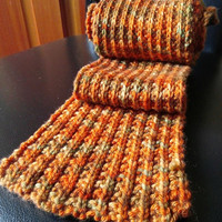 Knit Scarf, Autumn Colors, Merino Wool, Rib Stitch, Scrunchy, Orange, Green, Gold