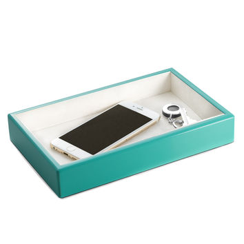 Lacquered Turquoise Wood Open Face Valet Tray