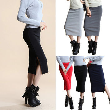 Sexy Split Stretch Pencil Skirts in Mid Waist Mid-Calf Thin Thighs Clothing