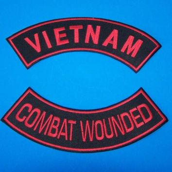 RED VIETNAM COMBAT WOUNDED ROCKERS PATCH SET FOR BIKER VETERAN VEST JACKET NEW