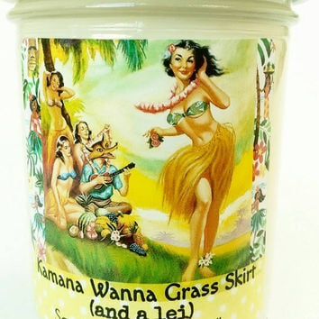 Hawaiian, soy candle,   Kamana Wanna Grass Skirt (and a lei) pineapple, tropical