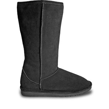 Women's 13-inch Cow Suede Boots - Black