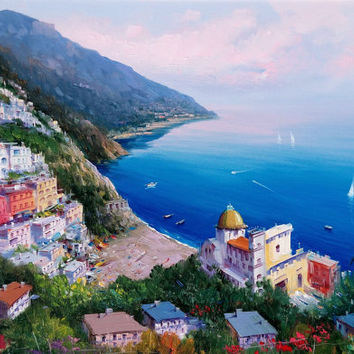 "Italian painting seascape Amalfitan Coast ""Positano n2"" original oil canvas of Giuseppe Iannicella Italy"