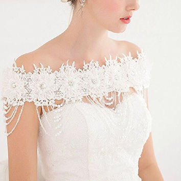 Sunshinesmile Wedding Bridal White Flower Lace Shoulder Body Chain Necklace Jewelry