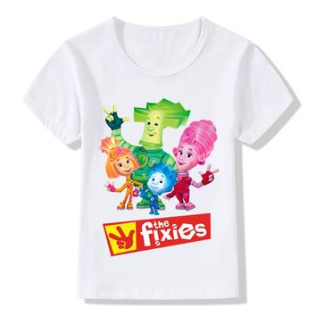 Children's Russian Cartoon The Fixies Design Funny T-Shirts Boys Girls Great Tops Tees Kids Casual Clothes For Toddler,HKP5148