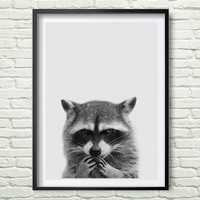 Racoon Print, Woodlands Nursery, Wall Art, Modern Minimal Black and White Animal, Printable Instant Download, Kids Room Decor *78*