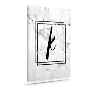 "KESS Original ""Gray Marble Monogram"" Canvas Art"