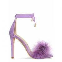 Tamaya Lilac Suede Fluffy Lace Up Heels : Simmi Shoes