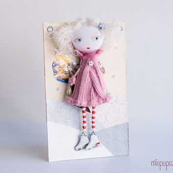 Art Doll Brooch To My Valentine mixed media collage by miopupazzo