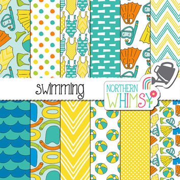 Pool Digital Paper - summer scrapbook paper - blue and yellow seamless patterns - snorkel, flipper, pool toy & swim suit - commercial use