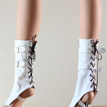 Victorian Steampunk Spats Leather White Shoe Boot Covers Fetish Gothic Fantasy Costume Cosplay - Chrisst - Unique Fashion SPECIAL ETSY PRICE
