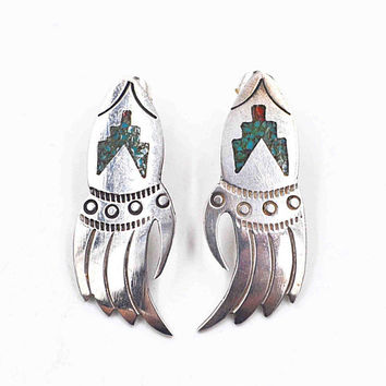 Vintage Navajo Sterling Silver Bear Paw Pierced Earrings, Native American, Inlaid, Turquoise, Coral, Elongated, Long, So Cool! #c490