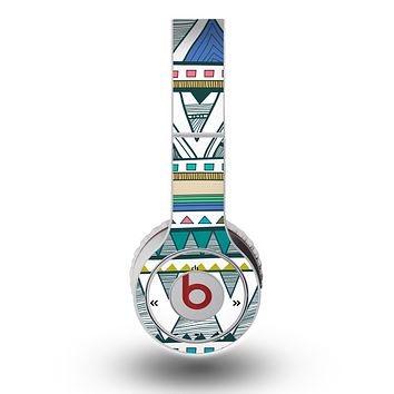 The Abstract Blue and Green Triangle Aztec Skin for the Original Beats by Dre Wireless Headphones