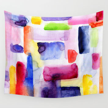 Color Block Wall Tapestry by Miss L In Art