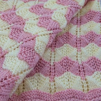 Soft Cuddly Pink Cream Striped Baby Girl Blanket 36 x 36 Caron Simply Soft