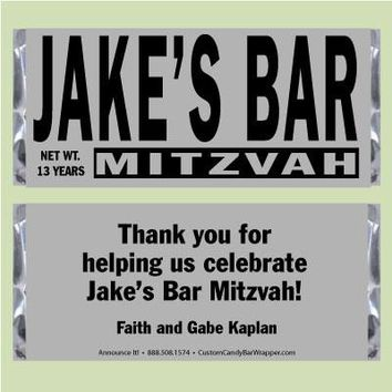 Silver Bar Mitzvah Candy Bar Wrappers