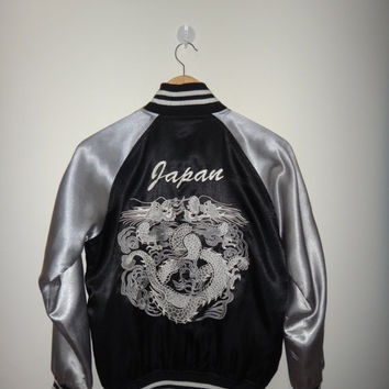 New Year Sale Vintage Japanese Yokosuka Silver Double Dragon Japan Embroidered Jacket Art japan Sukajan Souvenir Japanese Traditional Dragon